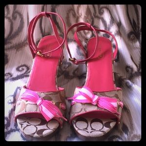 Coach Brown with pink laces wedge